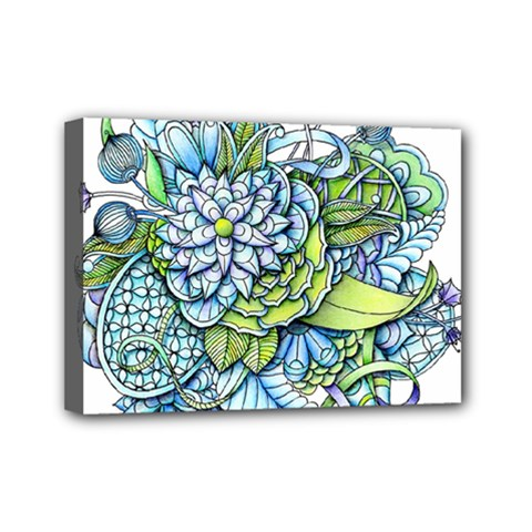 Peaceful Flower Garden Mini Canvas 7  X 5  (framed)