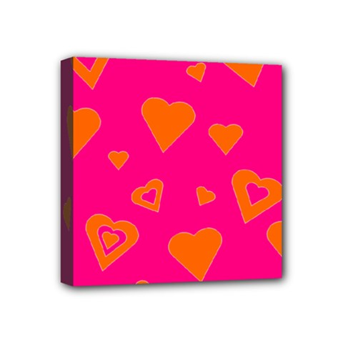 Hot Pink And Orange Hearts By Khoncepts Com Mini Canvas 4  x 4  (Framed)