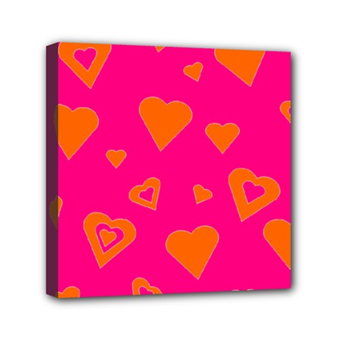 Hot Pink And Orange Hearts By Khoncepts Com Mini Canvas 6  x 6  (Framed)