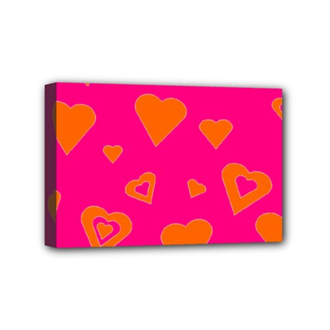 Hot Pink And Orange Hearts By Khoncepts Com Mini Canvas 6  x 4  (Framed)