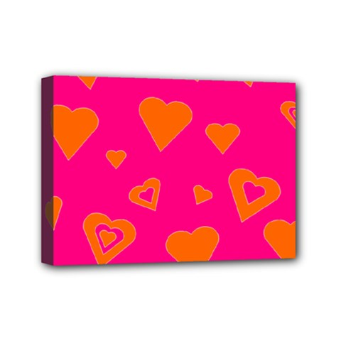 Hot Pink And Orange Hearts By Khoncepts Com Mini Canvas 7  X 5  (framed)