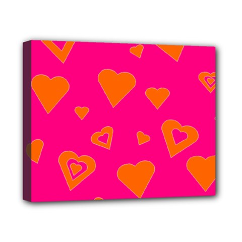 Hot Pink And Orange Hearts By Khoncepts Com Canvas 10  x 8  (Framed)