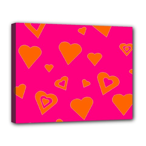 Hot Pink And Orange Hearts By Khoncepts Com Canvas 14  x 11  (Framed)