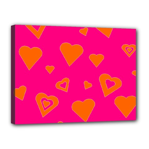 Hot Pink And Orange Hearts By Khoncepts Com Canvas 16  x 12  (Framed)