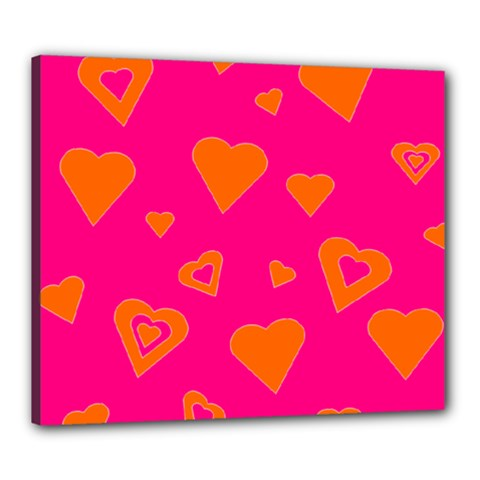Hot Pink And Orange Hearts By Khoncepts Com Canvas 24  X 20  (framed)