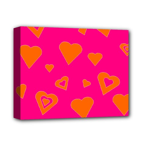 Hot Pink And Orange Hearts By Khoncepts Com Deluxe Canvas 14  X 11  (framed)