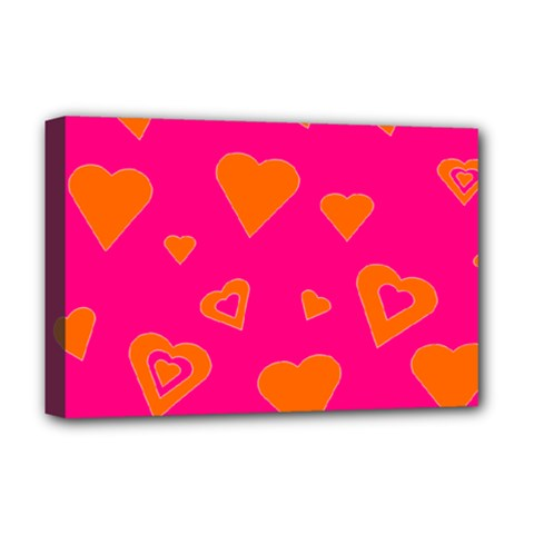 Hot Pink And Orange Hearts By Khoncepts Com Deluxe Canvas 18  x 12  (Framed)