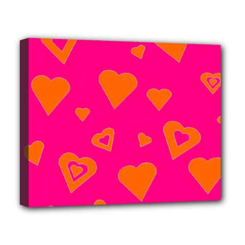 Hot Pink And Orange Hearts By Khoncepts Com Deluxe Canvas 20  X 16  (framed)