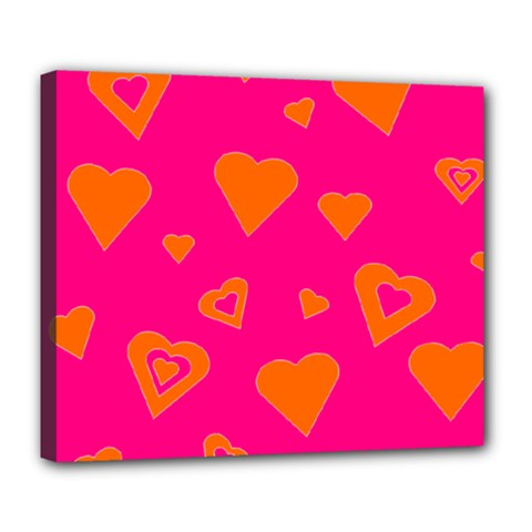 Hot Pink And Orange Hearts By Khoncepts Com Deluxe Canvas 24  x 20  (Framed)