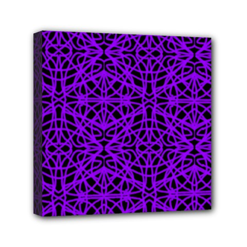 Black and Purple String Art Mini Canvas 6  x 6  (Stretched)