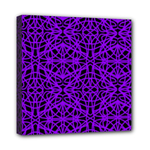 Black and Purple String Art Mini Canvas 8  x 8  (Stretched)