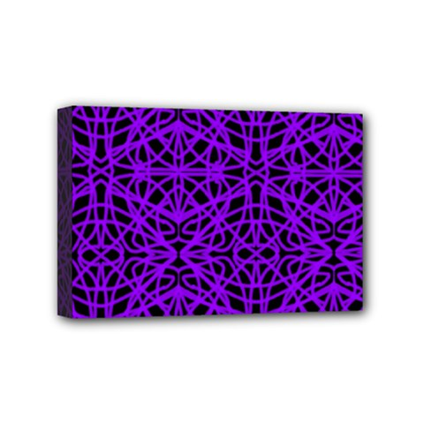 Black and Purple String Art Mini Canvas 6  x 4  (Stretched)