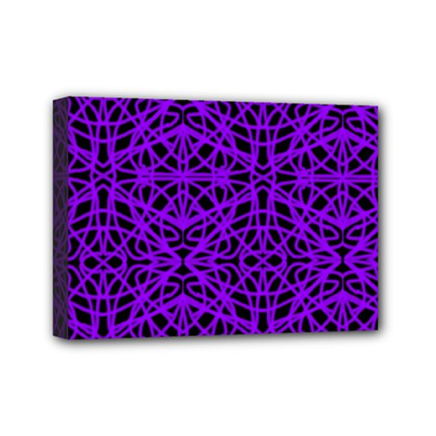 Black And Purple String Art Mini Canvas 7  X 5  (stretched)