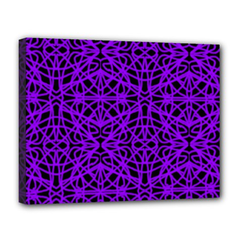 Black And Purple String Art Canvas 14  X 11  (stretched)