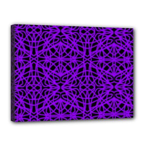 Black and Purple String Art Canvas 16  x 12  (Stretched)