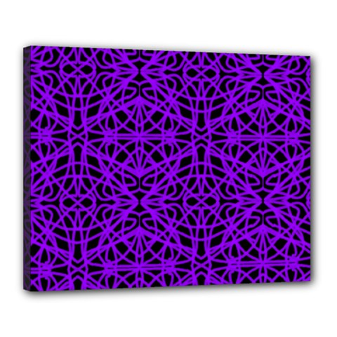 Black and Purple String Art Canvas 20  x 16  (Stretched)