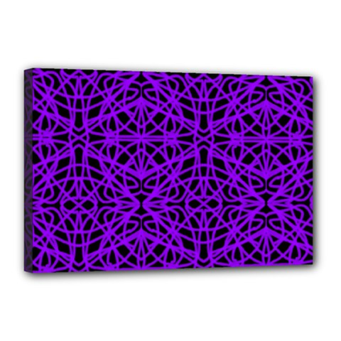 Black And Purple String Art Canvas 18  X 12  (stretched)