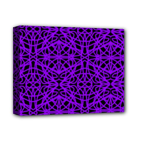 Black and Purple String Art Deluxe Canvas 14  x 11  (Stretched)