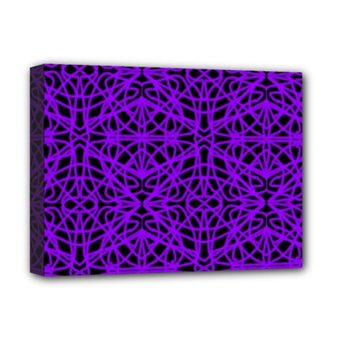 Black and Purple String Art Deluxe Canvas 16  x 12  (Stretched)
