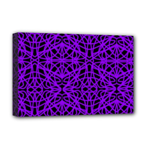 Black and Purple String Art Deluxe Canvas 18  x 12  (Stretched)