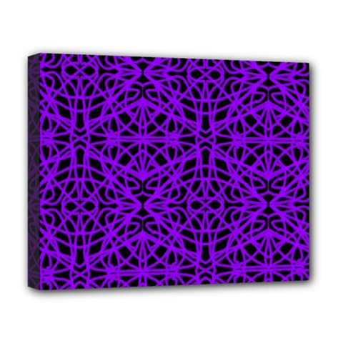 Black and Purple String Art Deluxe Canvas 20  x 16  (Stretched)
