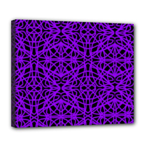 Black and Purple String Art Deluxe Canvas 24  x 20  (Stretched)