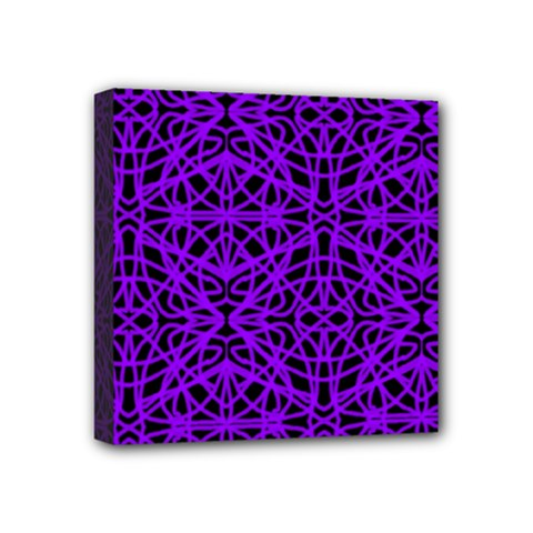 Black And Purple String Art Mini Canvas 4  X 4  (stretched)