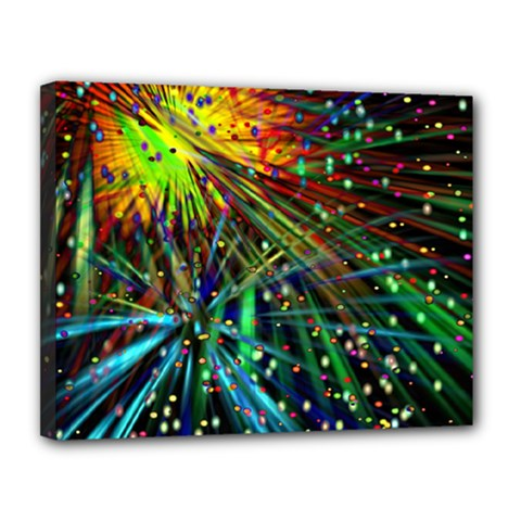 Exploding Fireworks Canvas 14  X 11  (framed)