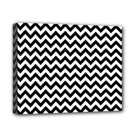 Black And White Zigzag Canvas 10  x 8  (Framed)