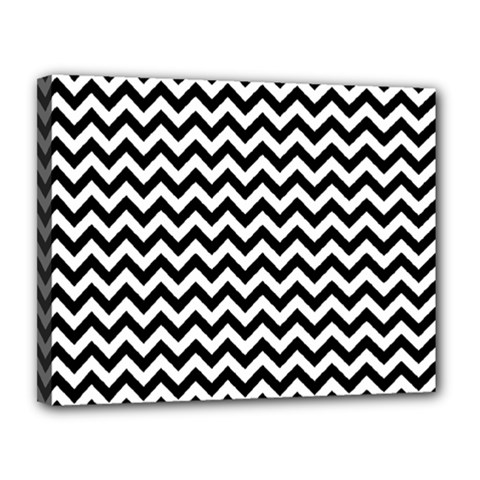 Black And White Zigzag Canvas 14  X 11  (framed)