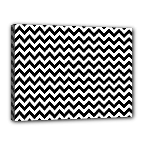 Black And White Zigzag Canvas 16  X 12  (framed)