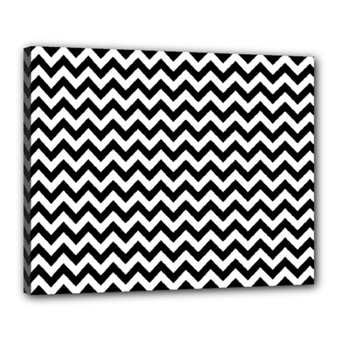 Black And White Zigzag Canvas 20  x 16  (Framed)