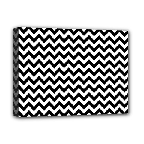 Black And White Zigzag Deluxe Canvas 16  X 12  (framed)