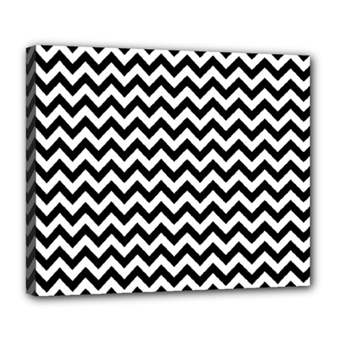 Black And White Zigzag Deluxe Canvas 24  x 20  (Framed)