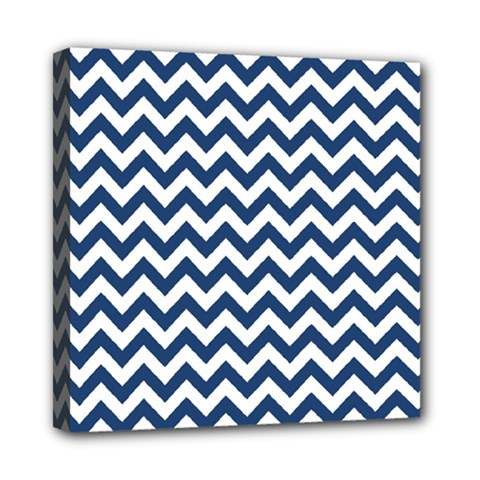 Dark Blue And White Zigzag Mini Canvas 8  x 8  (Framed)