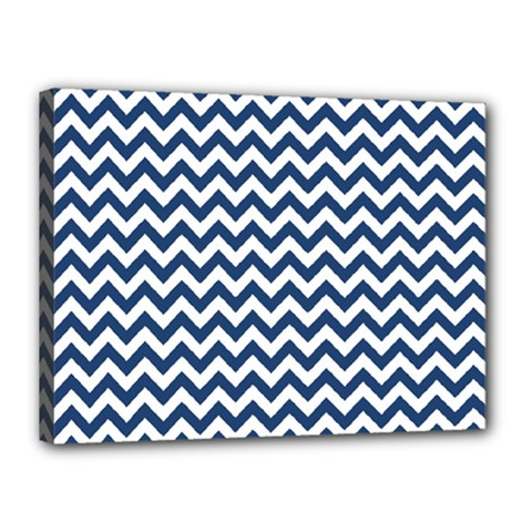 Dark Blue And White Zigzag Canvas 16  x 12  (Framed)