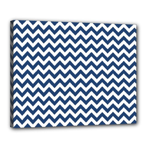 Dark Blue And White Zigzag Canvas 20  x 16  (Framed)