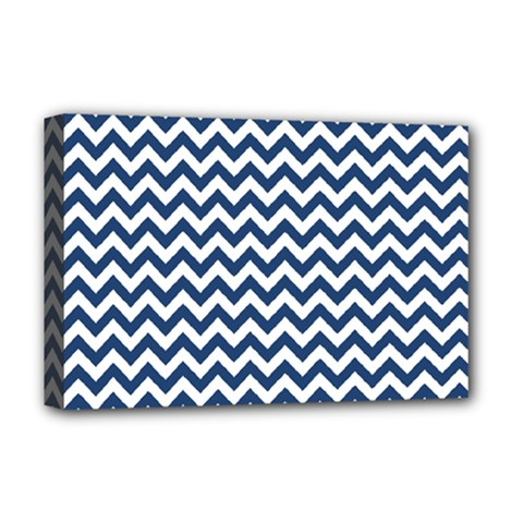 Dark Blue And White Zigzag Deluxe Canvas 18  x 12  (Framed)