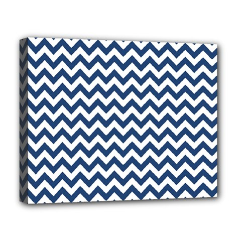 Dark Blue And White Zigzag Deluxe Canvas 20  X 16  (framed)