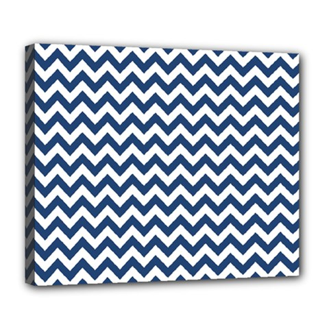 Dark Blue And White Zigzag Deluxe Canvas 24  x 20  (Framed)