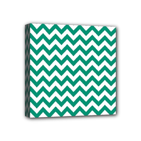 Emerald Green And White Zigzag Mini Canvas 4  X 4  (framed)
