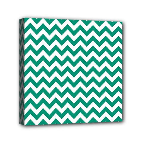 Emerald Green And White Zigzag Mini Canvas 6  x 6  (Framed)
