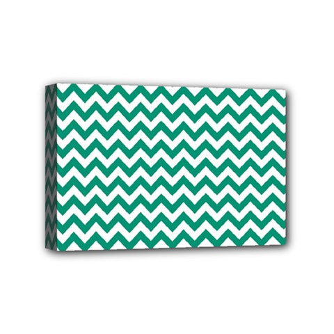 Emerald Green And White Zigzag Mini Canvas 6  x 4  (Framed)