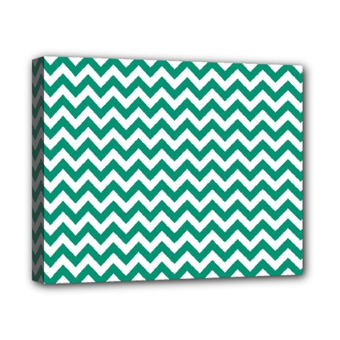 Emerald Green And White Zigzag Canvas 10  X 8  (framed)