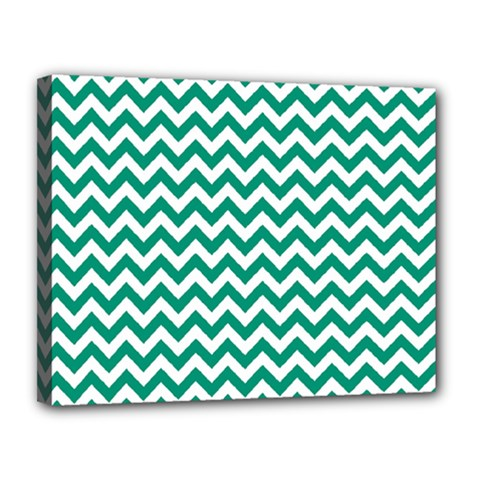 Emerald Green And White Zigzag Canvas 14  X 11  (framed)