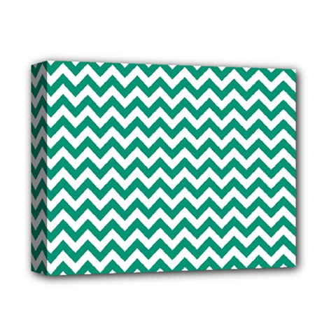 Emerald Green And White Zigzag Deluxe Canvas 14  x 11  (Framed)
