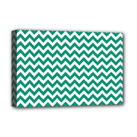 Emerald Green And White Zigzag Deluxe Canvas 18  x 12  (Framed)