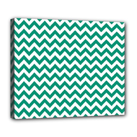 Emerald Green And White Zigzag Deluxe Canvas 24  x 20  (Framed)