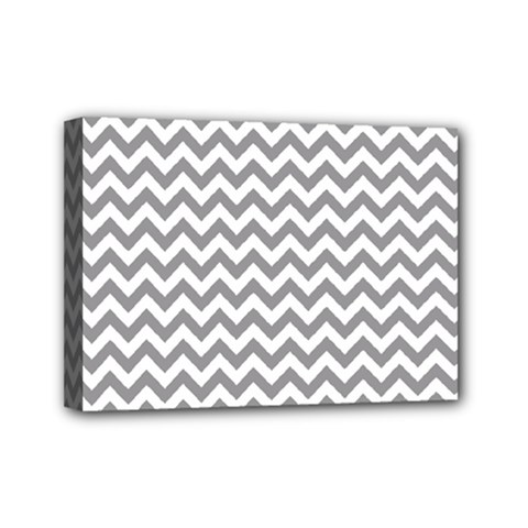 Grey And White Zigzag Mini Canvas 7  x 5  (Framed)