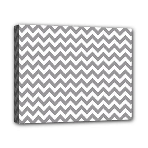 Grey And White Zigzag Canvas 10  x 8  (Framed)